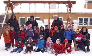 Group Preschool group outside by swingset